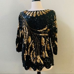 vintage 80's gold and black sequin top